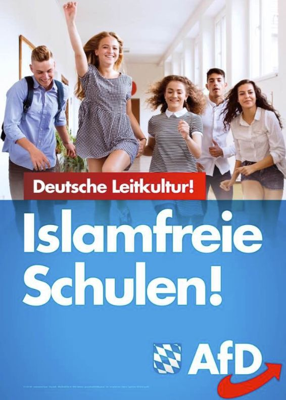 "Alternative for Germany's new poster, vowing ""Islam-free schools!"" and promoting ""dominant..."