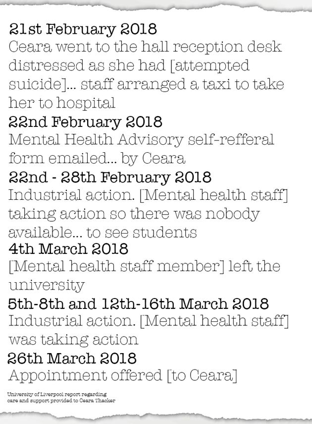 Excerpts from the University of Liverpool's review into the care given to first-year student Ceara Thacker.