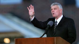 Franklin Graham, son of Billy Graham, delivers a sermon during the funeral service for the late U.S. evangelist Billy Graham at the Billy Graham Library in Charlotte, North Carolina, U.S., March 2, 2018. REUTERS/Leah Millis