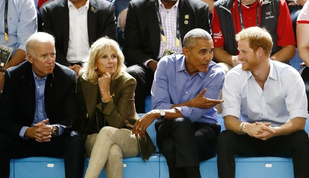Former Vice President Joe Biden; his wife, Jill Biden; former President Barack Obama; and Prince Harry...
