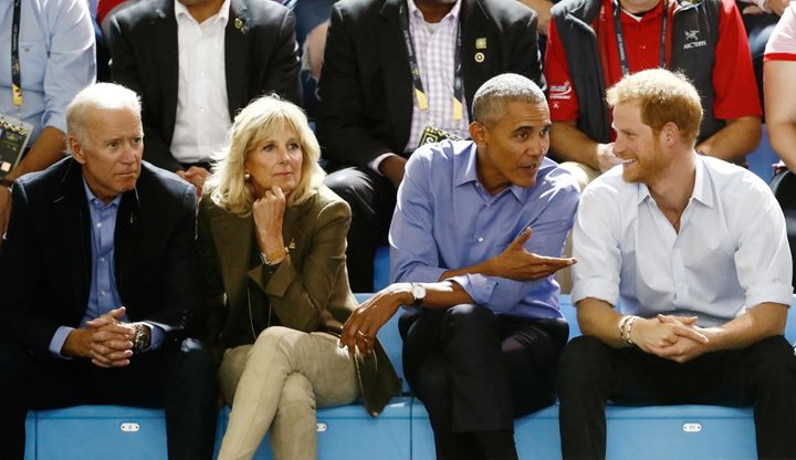 Former Vice President Joe Biden; his wife, Jill Biden; former President Barack Obama; and Prince Harry at the Invictus Games