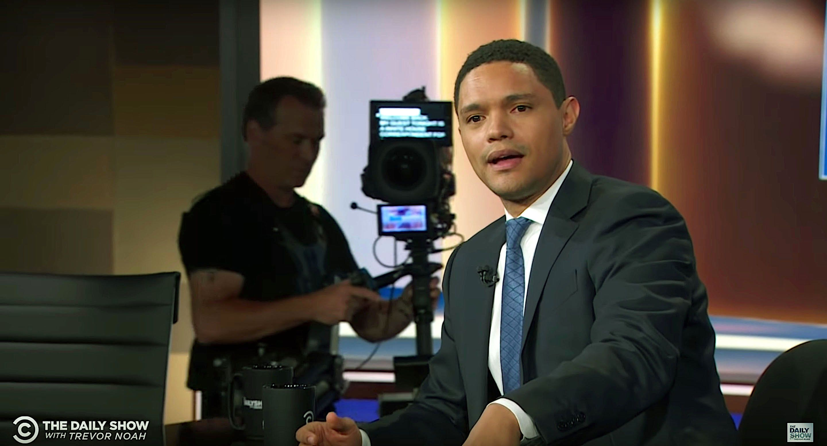 Trevor Noah of The Daily Show tells his studio audience about his dog Fufi