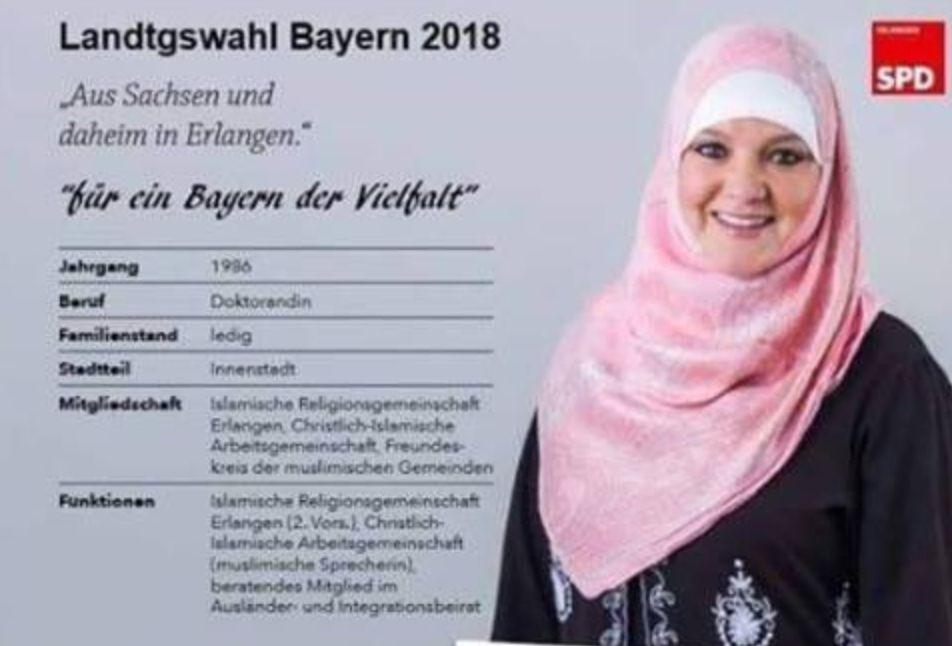 Bayern-Wahl: SPD geht gegen Fake-Plakat mit Kopftuchträgerin