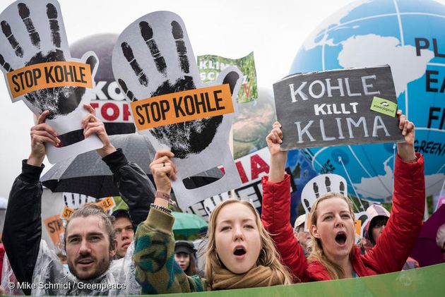 독일 베를린에서 시민들이 석탄 퇴출 시위를 하고