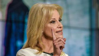 MEET THE PRESS -- Pictured: (l-r)  Kellyanne Conway, Counselor to President Donald Trump, appears on 'Meet the Press' in Washington, D.C., Sunday, Sept. 9, 2018.  (Photo by: William B. Plowman/NBC/NBC NewsWire via Getty Images)