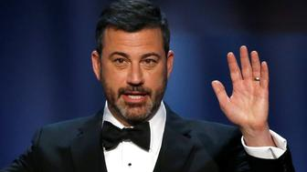 Jimmy Kimmel speaks on stage at the 46th AFI Life Achievement Award in Los Angeles, California, U.S., June 7, 2018. Picture taken June 7, 2018. REUTERS/Mario Anzuoni