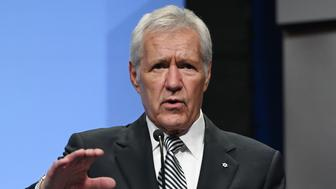 LAS VEGAS, NV - APRIL 09:  'Jeopardy!' host Alex Trebek speaks as he is inducted into the National Association of Broadcasters Broadcasting Hall of Fame during the NAB Achievement in Broadcasting Dinner at the Encore Las Vegas on April 9, 2018 in Las Vegas, Nevada. NAB Show, the trade show of the National Association of Broadcasters and the world's largest electronic media show, runs through April 12 and features more than 1,700 exhibitors and 102,000 attendees.  (Photo by Ethan Miller/Getty Images)