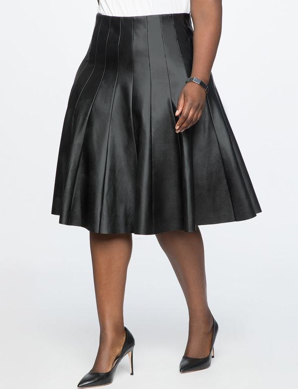 """<strong>Sizes</strong>: 14 to 28<br>Get it <a href=""""https://www.eloquii.com/studio-faux-leather-pleated-skirt/1193284.html?dw"""