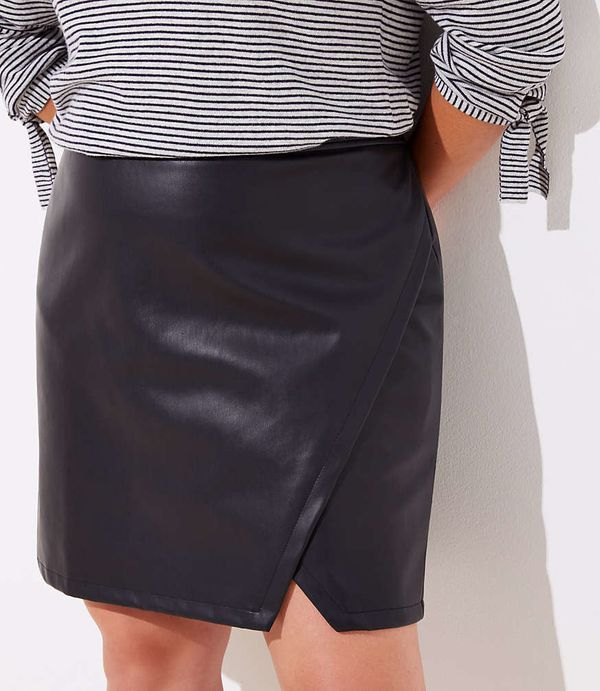 """<strong>Sizes</strong>: 16 to 26<br>Get it <a href=""""https://www.loft.com/loft-plus-faux-leather-wrap-skirt/477939"""" target=""""_b"""
