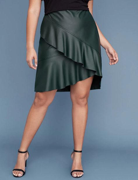 """<strong>Sizes</strong>: 12 to 28<br>Get it <a href=""""https://www.lanebryant.com/faux-leather-ruffle-skirt/prd-352085"""" target="""""""