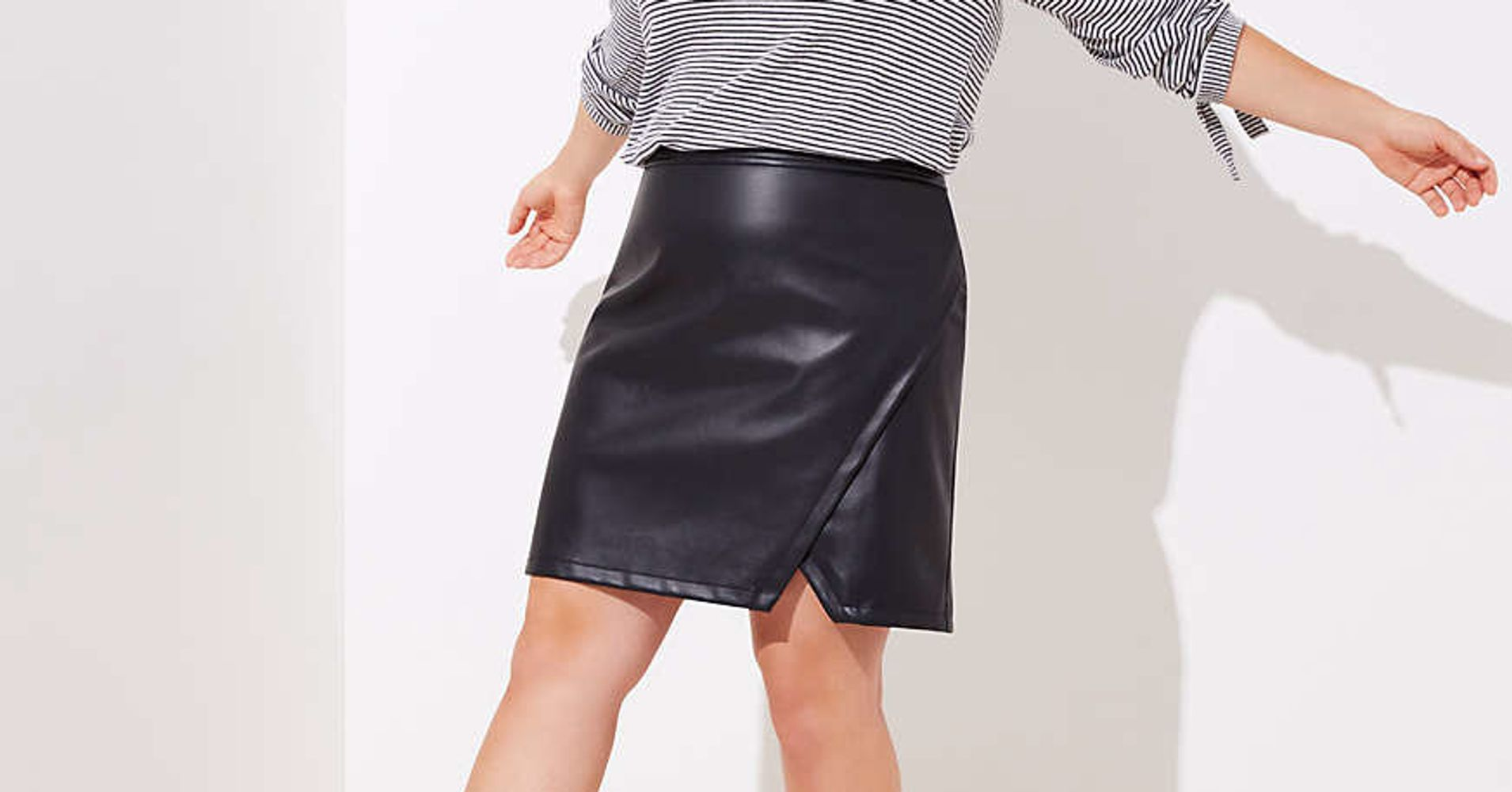 a191ef9df98f6 11 Plus-Size Faux Leather Skirts That ll Fit Just Right