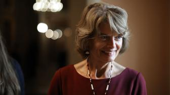 WASHINGTON, DC - JULY 31:  Sen. Lisa Murkowski (R-AK) is interviewed  following the GOP weekly policy luncheon at the U.S. Capitol July 31, 2018 in Washington, DC. Senators are reacting to President Donald Trump's threat to shut down the government if he does not get funding for a U.S.-Mexico border wall.  (Photo by Chip Somodevilla/Getty Images)