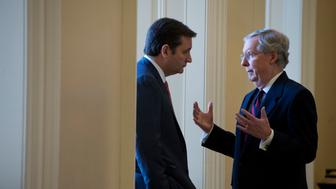 UNITED STATES - NOVEMBER 28:  Senate Minority Leader Mitch McConnell, R-Ky., right, talks with Sen.-elect Ted Cruz, R-Texas, outside of a senate republican lunch in the Capitol.  (Photo By Tom Williams/CQ Roll Call)