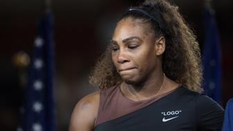 2018 US Open Tennis Tournament- Day Thirteen.  Serena Williams of the United States at the presentation after the controversial match against Naomi Osaka of Japan in the Women's Singles Final on Arthur Ashe Stadium at the 2018 US Open Tennis Tournament at the USTA Billie Jean King National Tennis Center on September 8th, 2018 in Flushing, Queens, New York City.  (Photo by Tim Clayton/Corbis via Getty Images)