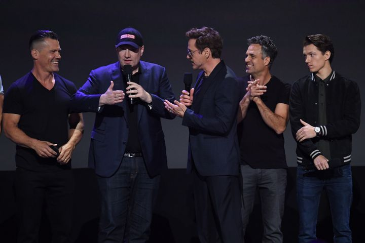 Josh Brolin, Kevin Feige, Robert Downey Jr., Mark Ruffalo and Tom Holland at D23 EXPO 2017