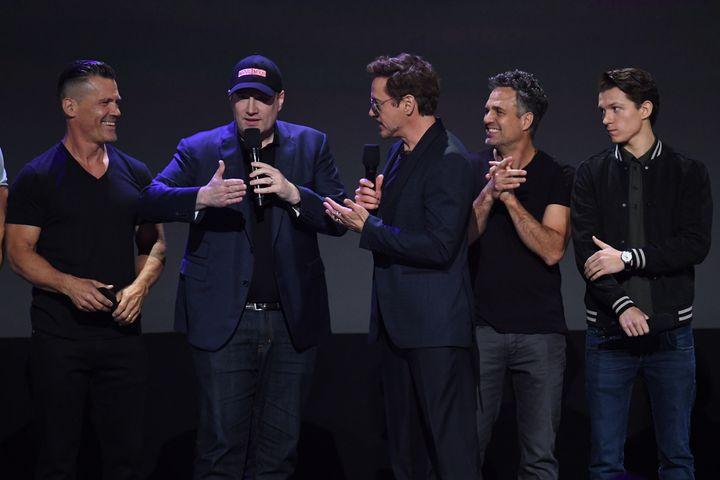Josh Brolin, Kevin Feige, Robert Downey Jr., Mark Ruffalo and Tom Holland at D23 EXPO 2017
