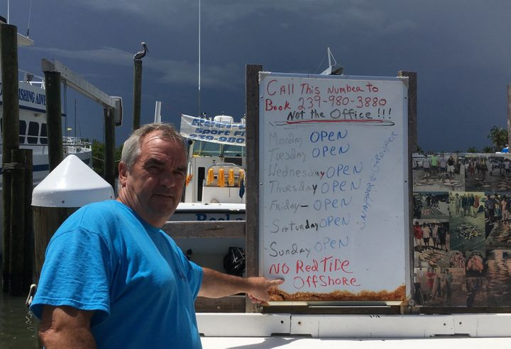 Fishing guide Larry Conley has not had a charter in weeks because of the convergence of toxic blue-green algae from Lake Okee