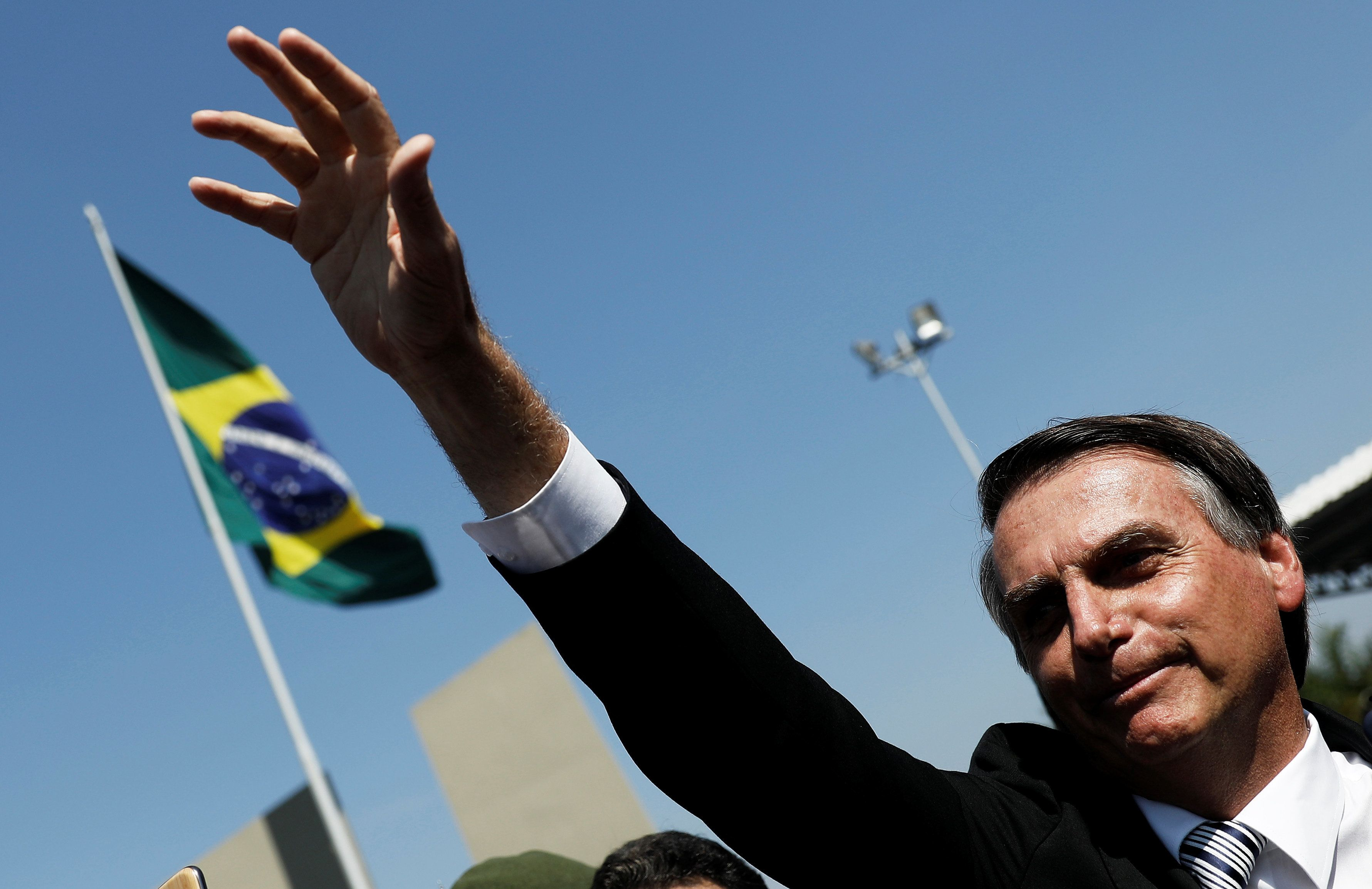 Brazilian Partido Social Liberal (PSL) presidential candidate and former military officer Jair Bolsonaro gestures during a military event in Sao Paulo, Brazil May 3, 2018. REUTERS/Nacho Doce