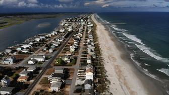 TOPSAIL BEACH- SEPTEMBER 11: A mandatory evacuation is in effect in preparation of the approaching Hurricane Florence, on September 11, 2018 in Topsail Beach, North Carolina. Hurricane Florence is expected on Friday possibly as a category 4 storm along the Virginia, North Carolina and South Carolina coastline.  (Photo by Mark Wilson/Getty Images)