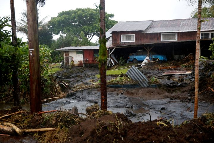 Hurricane Lane's heavy rains caused some flooding for a home in Hilo on Hawaii's Big Island.