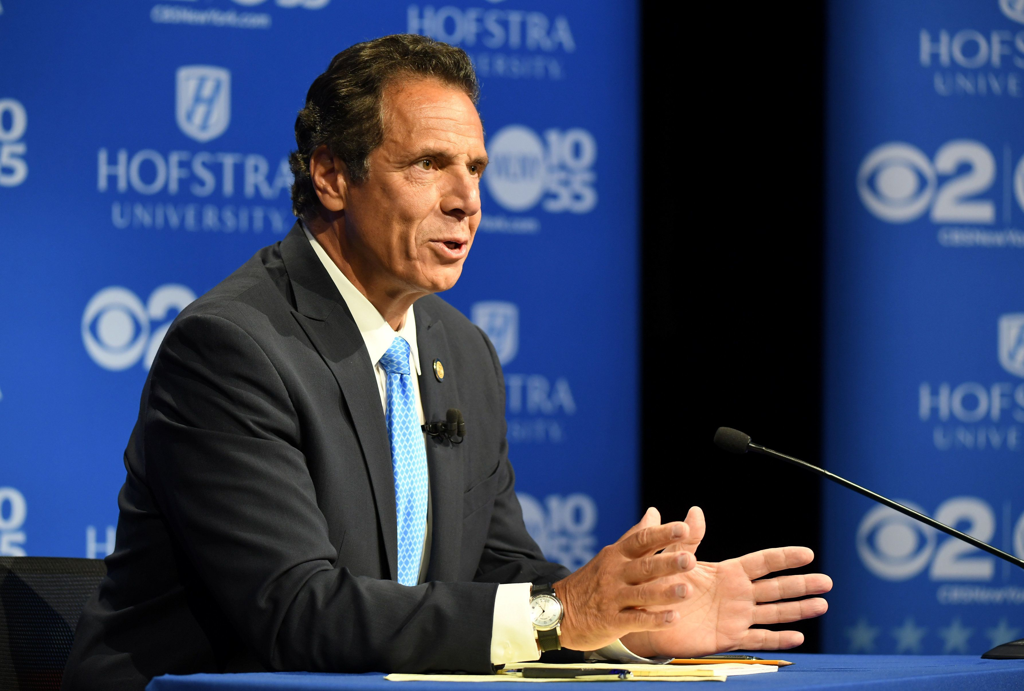 New York Gov. Andrew Cuomo speaks at the Democratic gubernatorial primary debate at Hofstra University in Hempstead on Aug. 2