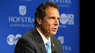 Governor Andrew M. Cuomo speaks at the Democratic gubernatorial primary debate at Hofstra University in Hempstead, New York August 29, 2018.    J. Conrad Williams Jr./Pool via REUTERS