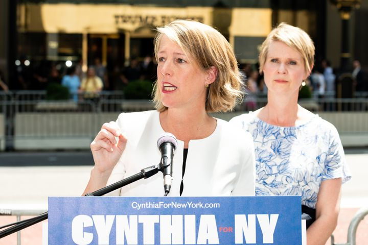 Zephyr Teachout, candidate for state attorney general, speaks in front of Cynthia Nixon on Aug. 8, when the two endorsed each