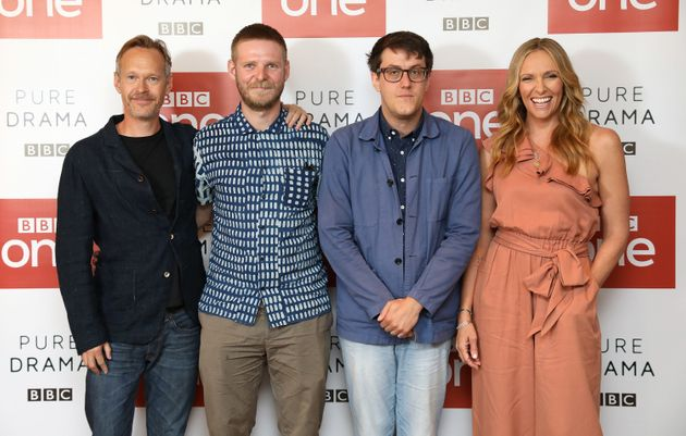Nick Payne poses with director Luke Snellin and actors Stephen Mackintosh and Toni