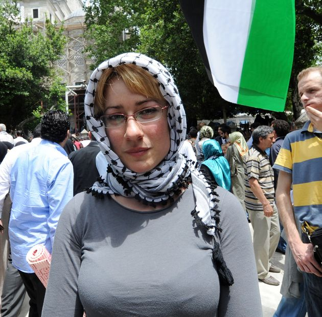 Ewa Jasiewicz at a pro-Palestine event in