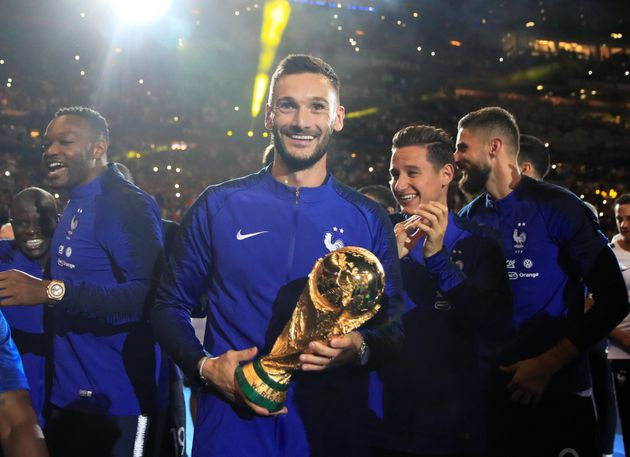 Hugo Lloris and team mates celebrate with the World Cup trophy earlier this