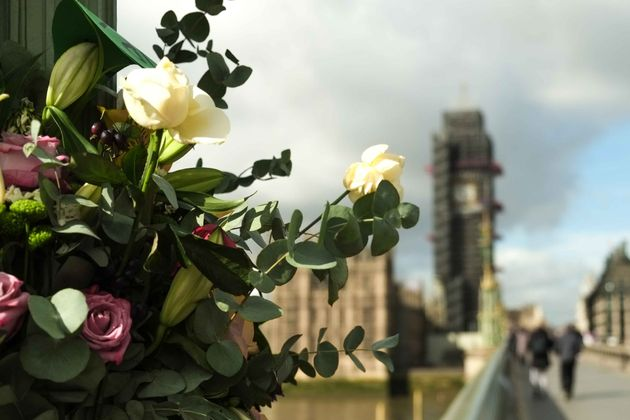 Floral tributes left on Westminster Bridge in