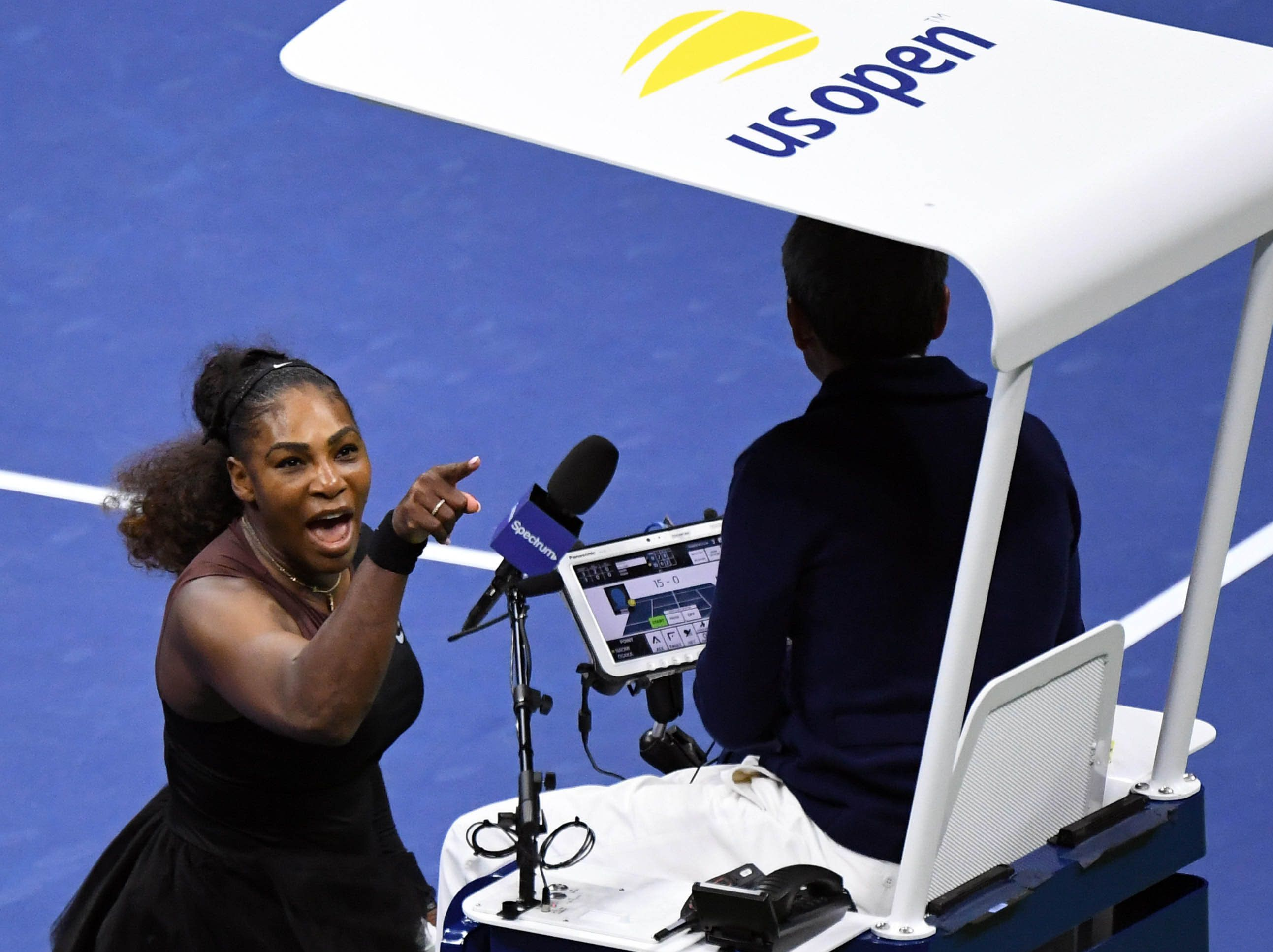 Sep 8, 2018; New York, NY, USA; Serena Williams of the United States yells at chair umpire Carlos Ramos in the women's final against Naomi Osaka of Japan on day thirteen of the 2018 U.S. Open tennis tournament at USTA Billie Jean King National Tennis Center. Mandatory Credit: Danielle Parhizkaran-USA TODAY SPORTS