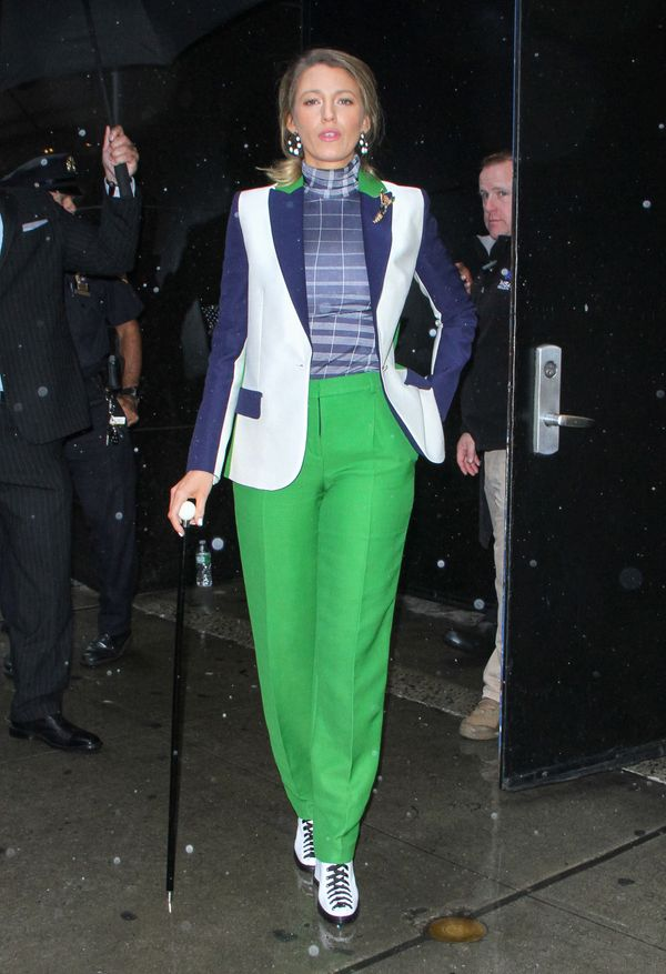 "She opted for this green, blue and white color-blocked look for her appearance on ""Live With Kelly & Ryan"" on"