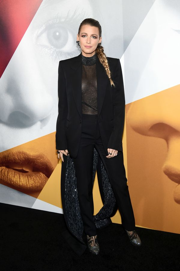"Lively ended the day in this sleek black Givenchy couture suit. She wore the ensemble for the ""A Simple Favor"" pr"