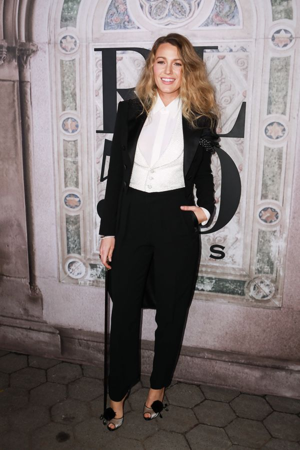 For the Ralph Lauren 50th anniversary event on Sept. 7 in New York City, Lively of course wore a Ralph Lauren suit.