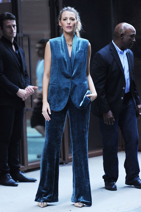 The actress wore this suit in New York on Aug. 17.