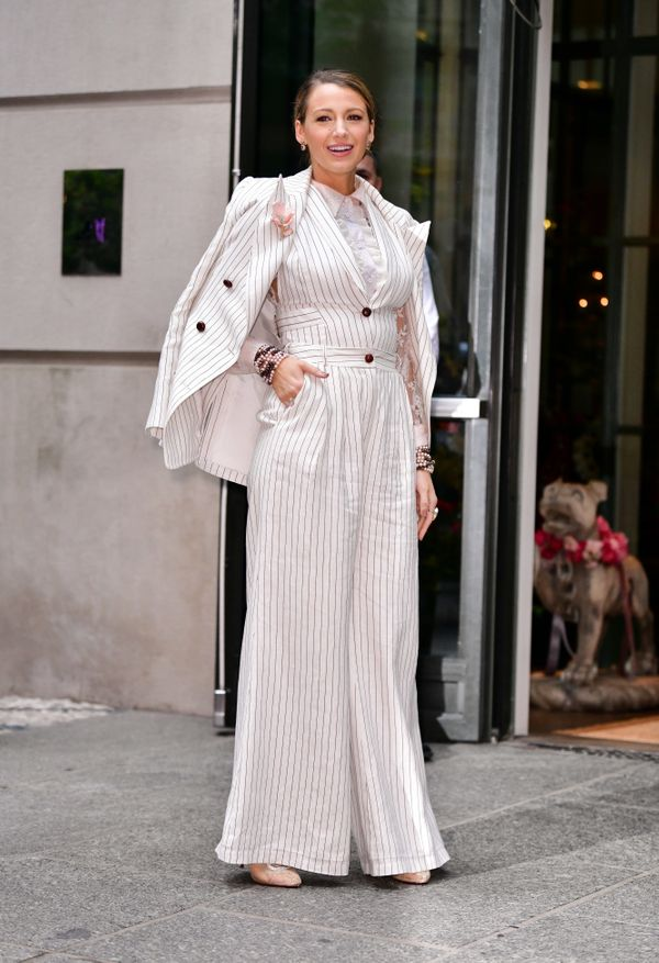 "After wearing two eye-catching suits, the former ""Gossip Girl"" star sported this look by Zimmermann, which she pa"