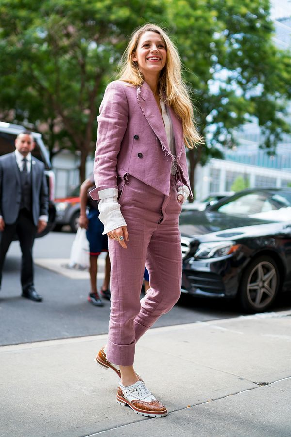 Before her appearance at the 2018 MTV VMAs, Lively wore this dusty rose suit with frayed edges by Vivienne Westwood.