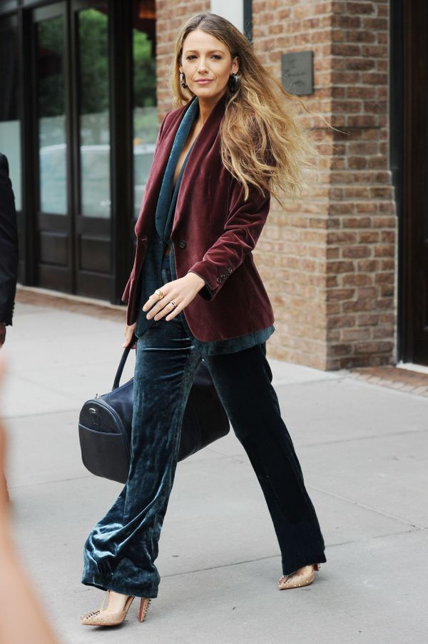 "At one point, the ""All I See Is You"" star added a burgundy blazer, also by Brunello Cucinelli, over the vest. The"