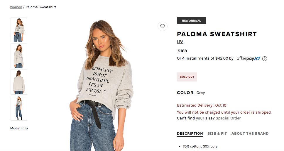 Popular fashion retailer Revolve is under fire for controversial sweatshirt