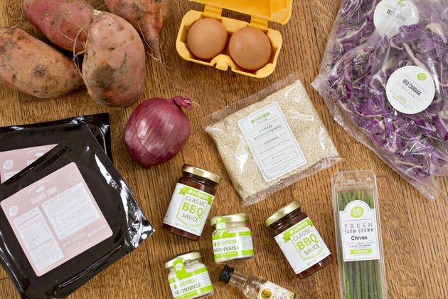 Ingredients from a HelloFresh AG delivery meal kit on Nov. 15,