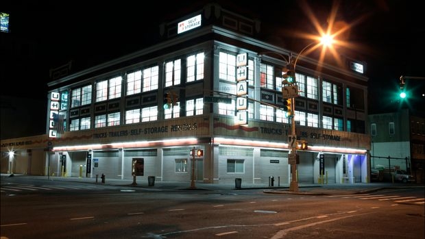 Nighttime view of a U-Haul self-storage storage facility (at West 23rd Street and 11th Avenue) on Manhattan's West Side, New York, New York, January 10, 2013. (Photo by Oliver Morris/Getty Images)