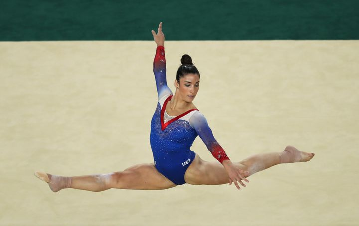 Raisman competing in the floor exercise final at the Rio de Janeiro Olympics in 2016. She took home silver.