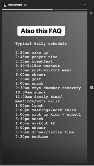 Mark Wahlberg's shower runs from 6:00 to 7:30 a.m., according to this schedule.