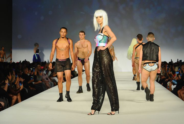 A cast of 34 openly trans models strut their stuff in Marco Marco designs.