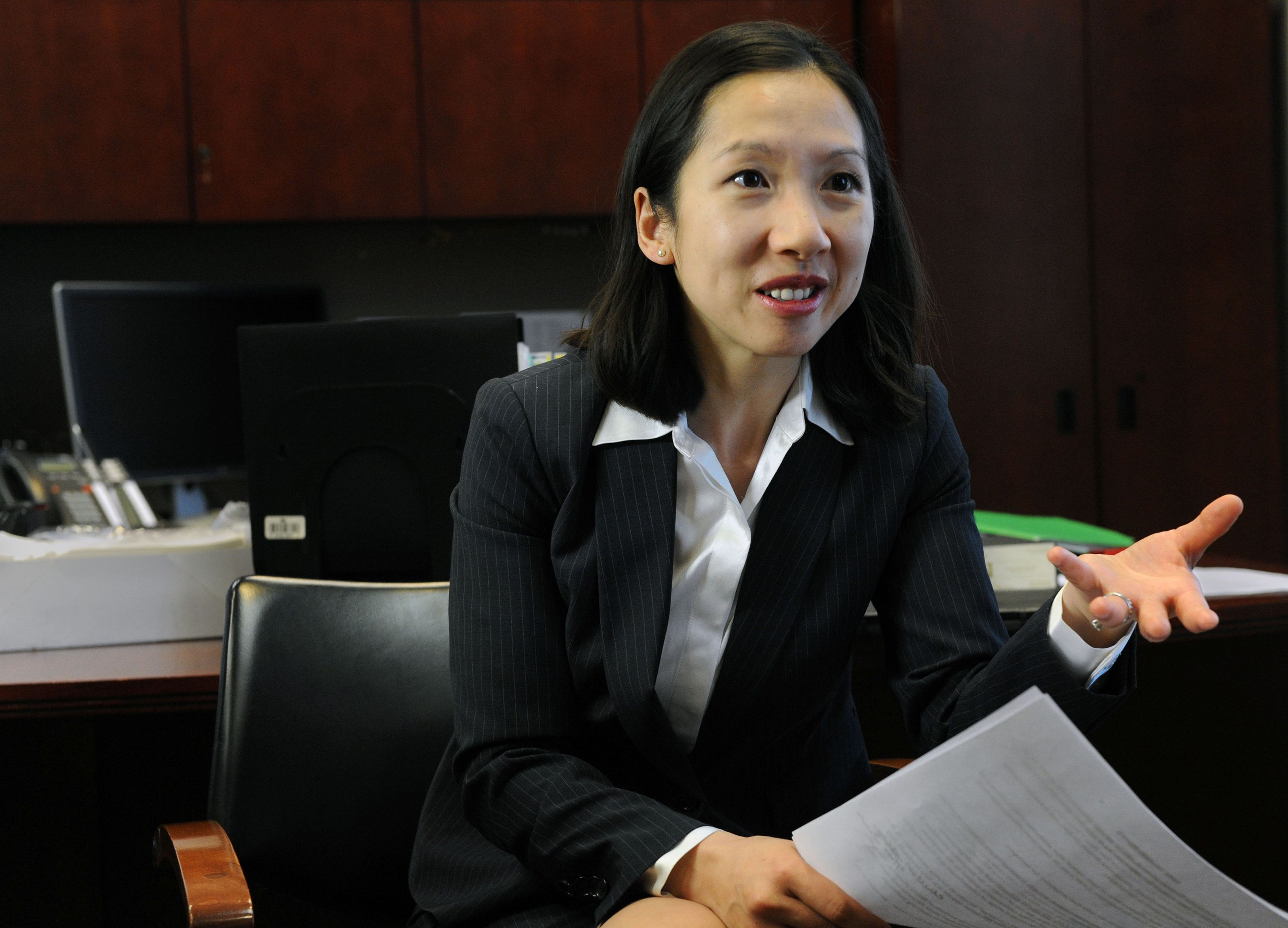 Leana Wen, health commissioner for the Baltimore City Health Department, talks about the effectiveness of contraception for public school students. (Kim Hairston/Baltimore Sun/TNS via Getty Images)
