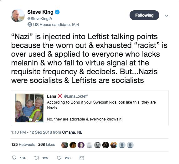 4790eb3560608 Republican Rep. Steve King Retweets A Known White Supremacist On ...