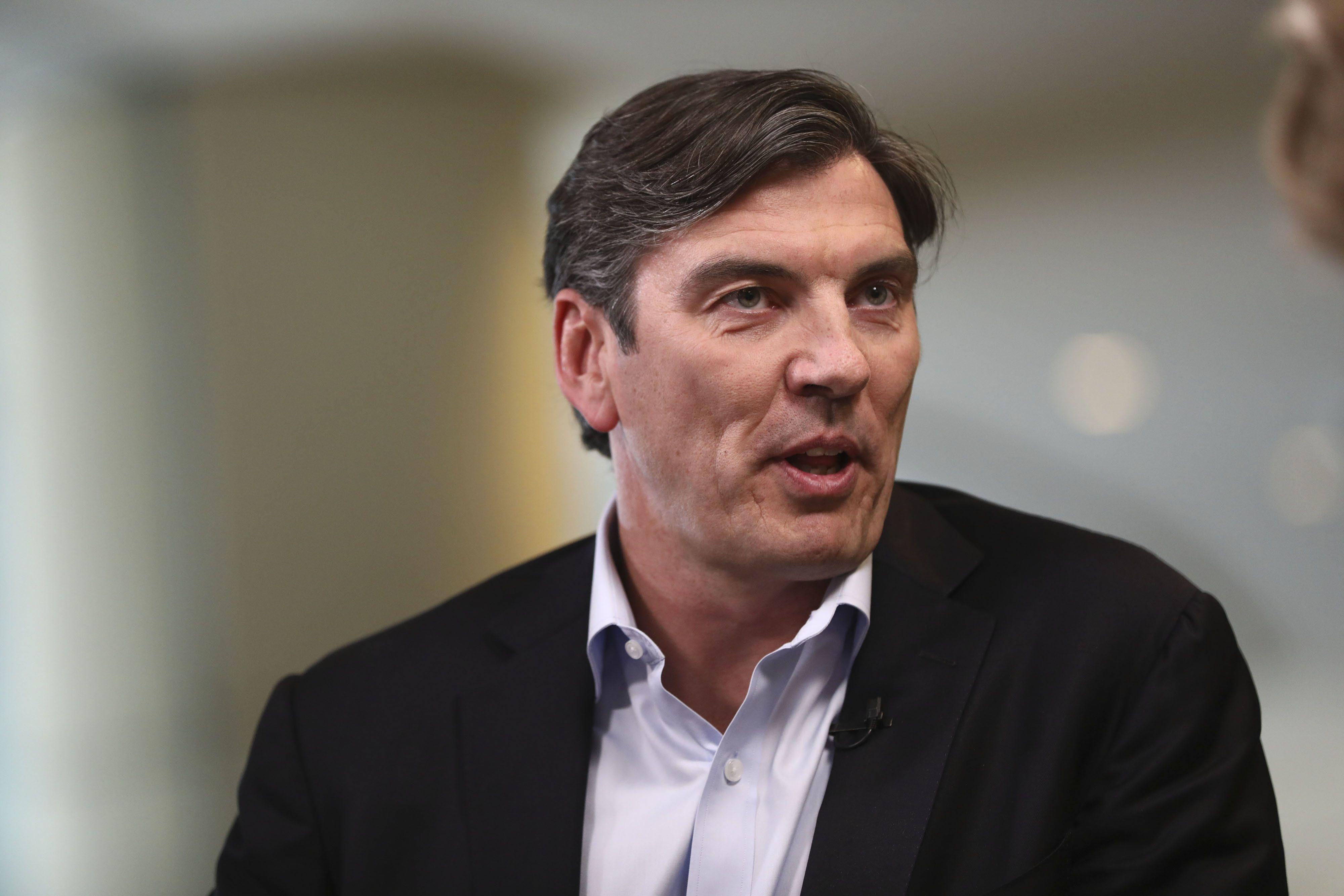 Tim Armstrong, chief executive officer of Oath Inc., speaks during a Bloomberg Television interview at the Milken Institute Global Conference in Beverly Hills, California, U.S., on Monday, April 30, 2018. The conference brings together leaders in business, government, technology, philanthropy, academia, and the media to discuss actionable and collaborative solutions to some of the most important questions of our time. Photographer: Patrick T. Fallon/Bloomberg via Getty Images