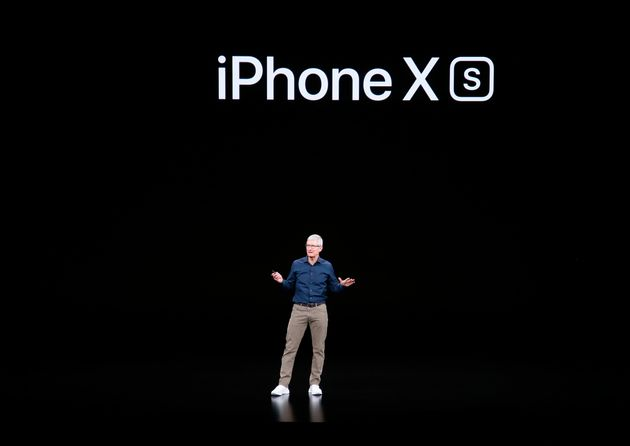 CEO Tim Cook introduces Apple's new smartphone, the iPhone XS, on Wednesday at company headquarters in...