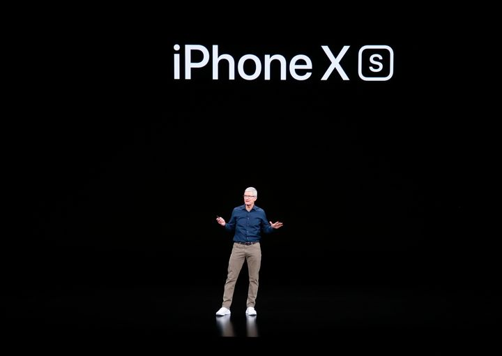 CEO Tim Cook introduces Apple's new smartphone, the iPhone XS, on Wednesday at company headquarters in Cupertino, California.
